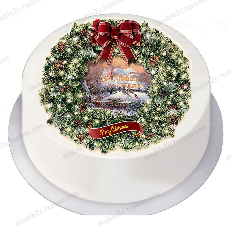 "Edible Paper For Cake Topper,8"" Merry Christmas Bell Wafer Edible Transfer Paper,Christmas Edible Cake Sugar Decorating Supplier(China)"