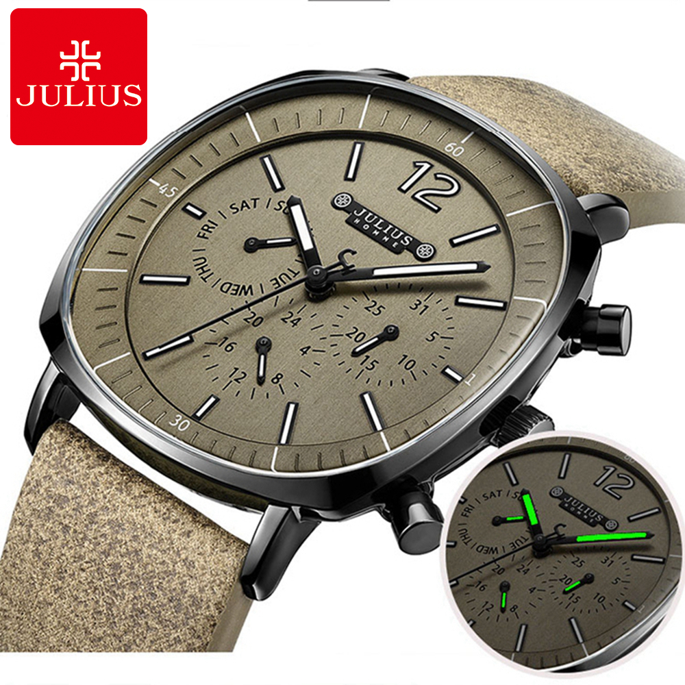 New Men Sports Fashion Genuine Leather Quartz Watch Mens Calendar Luminous Waterproof High Quality Clock Top Brand JULIUS 098<br>