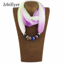 Jzhifiyer scarf luxury brand new fashion resin pendant necklace scarves party bridal jewelry necklace shawls echarpe hijabs