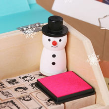 1pcs Free shipping Funny snowman Wooden  stamp Christams snowflake designs Stamps Scrapbooking Decoration