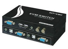 VGA KVM Switch 2x1 USB 2.0 with Audio, USB console 2 port In 1 Out Wide Screen Display 1920 * 1440 Panel button to Manual Switch