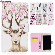 JFVNSUN Case for Samsung Galaxy A3 2017 A320F Luxury Flower Cute Bear Deer Pattern Wallet Leather Flip Cover for Samsung A3 2017