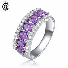 ORSA JEWELS Lead & Nickel Free Ring AAA Grade Purple Zircon Rings Clear CZ Micro Pave Rings for Women Fashion Jewelry OR43