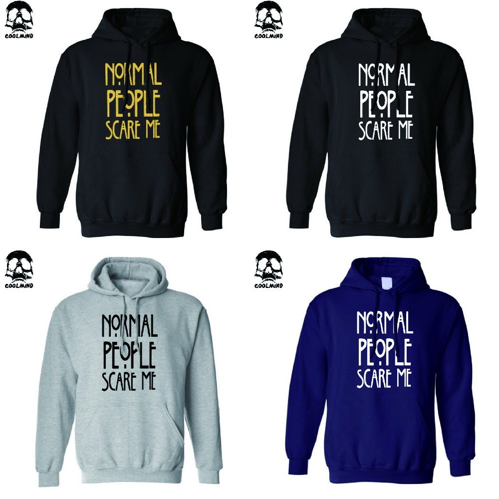 Normal People Scare Me Brand New men hooded sweatshirt top quality cotton blend fleece casual mens hoodies H01