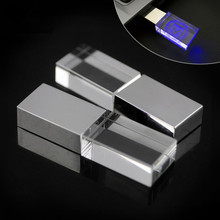Hot selling Metal Transparent Pen drive Usb memory stick disk Led light Crystal Usb flash drive