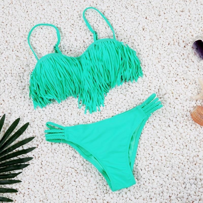 2017 Solid Tassel Bikini Set Sexy Push Up Swimwear Low Waist Bikini Brazilian Swimsuit Padding Bathing Suit Beachwear FD81624<br><br>Aliexpress