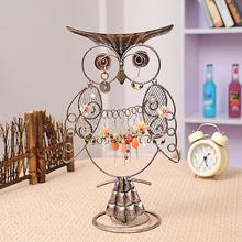 Vintage Owl Shape Jewelry Stand Display Earring Necklace Bracelrt Ring Organizer Holder