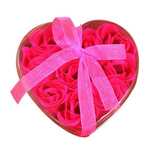 9Pcs Artificial Soap flowers Heart Scented Bath Body Petal Rose Flower Soap Wedding Decoration Friend Child Best Gift 2018(China)