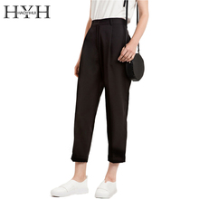HYH HAOYIHUI Women Pants Autumn Solid Black High Waist Slim Female Pants Basic Casual Streetwear Loose Female Pants(China)