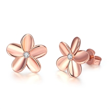 Fashion Women Flower Stud Earrings for Valentine Gift Rose Gold Silver Earrings Jewelry Jewelry Bridesmaid Earrings Wholesaler(China)