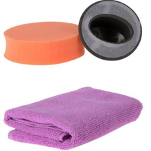 3pcs/set Car Sponge Wax Handle Towel Polishing Buffing Pad Kit For Auto Waxing Polisher Washing Cleaning Care