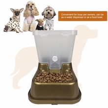 Automatic Pet Feeder Dogs Cats Food Bowl Plastic Non-toxic Food Water Dispenser Container Drinking Fountains Drop Shipping(China)