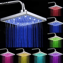 Homdox 8 inch Bathroom Rain Shower Head Square Stainless Steel LED Light Shower Head Silver 7 Colors Changing #35-24