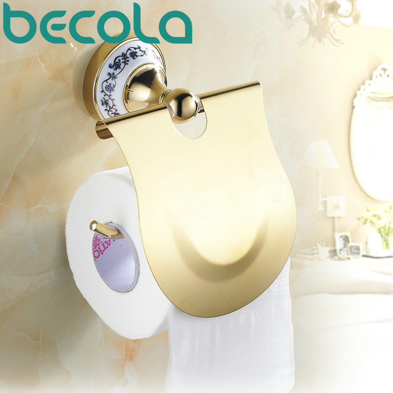 Free shipping Bathroom Accessories Blue &amp; White Porcelain Golden Plated Brass Toilet Paper Holder BR-5506<br>