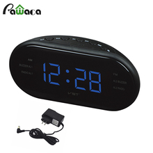 EU US Modern AM/FM Radio Alarm Clock Digital Display Snooze Function Desktop Table Electronic Alarm Clock For Home Office Decor(China)
