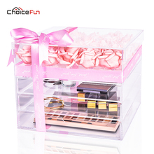 CHOICE FUN Large Luxury Acrylic Rose Flower Box Display Clear Makeup Organizer Gift Box(China)