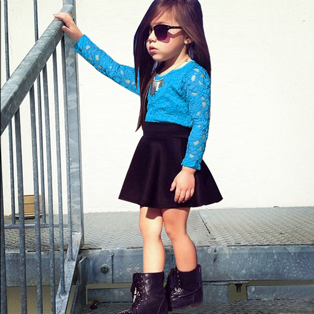 Girls Long Sleeve Skirt Clothes Set Christmas Girls Lace Tops + Skirt Clothes Set 2pcs Set Boutique Outfits Sets For Cute CL0701<br><br>Aliexpress