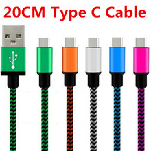 20CM 0.2M Short Aluminum Alloy Fabric nylon braided Type-C Type C usb 3.1 sync charger cable for for Xiaomi 4C Accessory Bundles