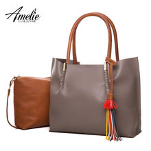 AMELIE GALANTI new fashion shoulder bags for women high quality casual totes solid Composite bag tassel soft open shopping 2017