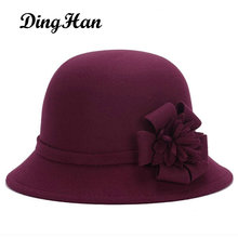 [DingHan] Vintage Stylish Fall Winter Fedoras Hat For Women Flowers Top Hat For Lady Girls Floppy Cartola Female Felt Bowler Cap