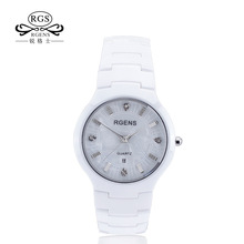 RGENS Original women ceramics watch white black ladies clocks casual waterproof female wristwatches luxury Diamond brand 5503