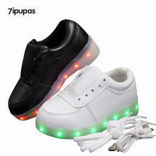 7ipupas Low Wholesale Price Luminous sneakers white black blue Graffiti 11 colors led lights glowing sneakers for boys girls kid(China)