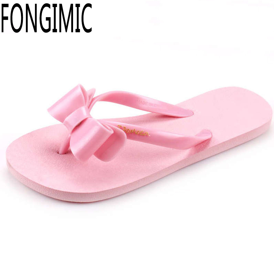 Classical casual flat bowtie slipper Hot sale Summer women sandals ladies fashion all match beach comfortable flower flip flops <br><br>Aliexpress