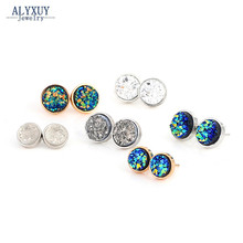 New Fashion accessories round Rock crystal design stud earring mix color size gift for women girl Wholesale E3300(China)