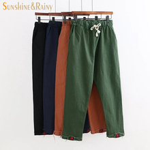 2017 spring summer Letter embroidery pants female  solid linen leisure pants  drawstring comfortable pantyhose ladies trousers