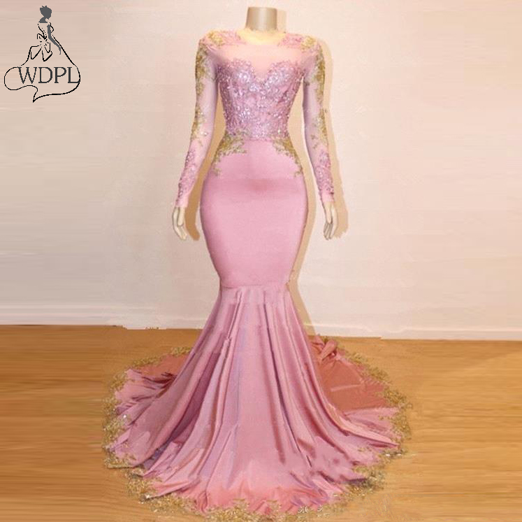 2019 New Sheer Long Sleeves Mermaid Prom Dresses Gold Lace Applique Sweep Train Formal Party Wear Evening Gowns robe de soiree