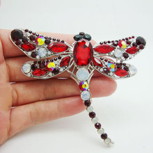 Unique Red Dragonfly Bird Brooch Pin Pendant Rhinestone Crystal Art Deco-style Rhinestone Party Jewelry