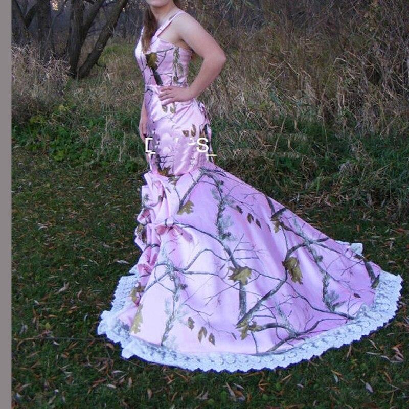 Straps Realtree Camouflage Gowns Pink Camo Wedding Dresses Bridal Vestido De Noiva Custom Make With Purple