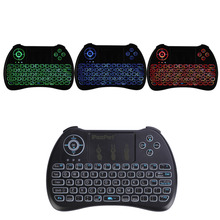iPazzPort Russian French 3 colours Backlight Wireless Mini Keyboard Mouse for Android TV box/Raspberry Pi/ HTPC(China)