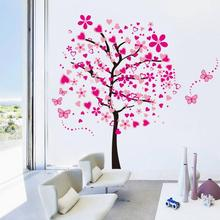 Pink Cartoon Heart Tree Butterfly Wall Stickers Removable Decals Wall Decor for Girls Kids Bed Room
