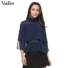 Women ruffles chiffon loose shirts transparent see throught stand collar three quarter sleeve blouse casual tops blusas LT1404