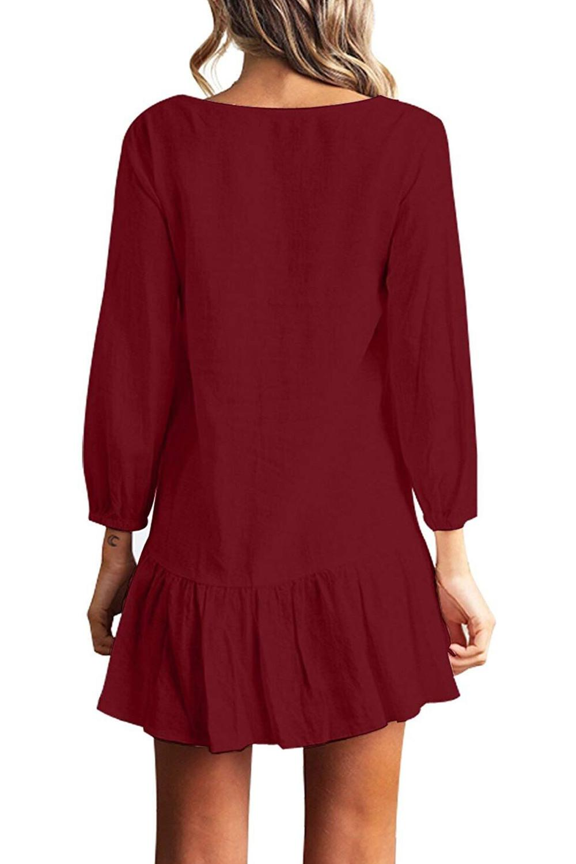 Women Autumn Dresses V Neck Cotton Linen Dress Femme 2018 Mini Casual Ruffle Long Sleeve T Shirt Dress Women Linen Dress 4
