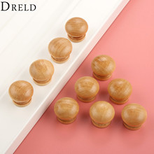 DRELD 10pcs Natural Wood Wooden Furniture Handles Cabinet Knobs and Handles Kitchen Drawer Wardrobe Door Pull Handle 24/28/33mm