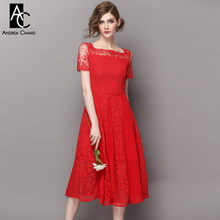 spring summer runway designer womans dresses white red over knee lace dress pleated patchwork bottom long party event dress