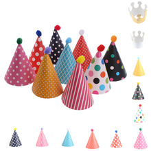 11Pcs/Set Cute Crown Headgear Birthday Hats Dot with Hairball Cap Children Kid Festive Celebration Decorations Accessories