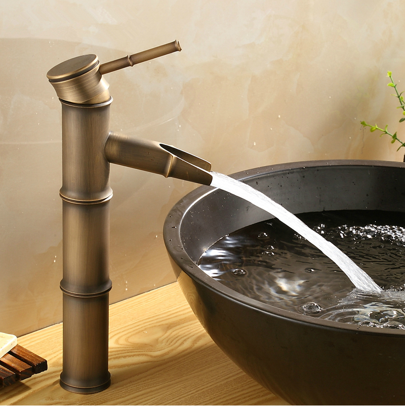 Free shipping classic bathroom bronze antique faucet brass brushed basin sink mixer taps,antique faucets art bamboo,torneiras<br><br>Aliexpress