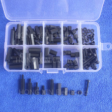 120pcs M3 black Nylon Hex Spacers Screw Nut Assortment Kit Stand off Accessories Set