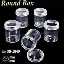 38x49MM Acrylic bottles with screw cap round boxes storage for DIY Nail Art Accessory Jewelry beads Crafts container case