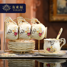 British Top-grade Tea Cup And Saucer Set European Ivory Ceramic Coffee Cups Set Mugs Ceramic Advanced Porcelain Cup For Gifts(China)