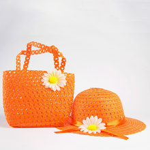 Girls Kids Beach Hats Bags Summer Sun Hat Flower Straw Hat Cap Tote Handbag Bag Suit