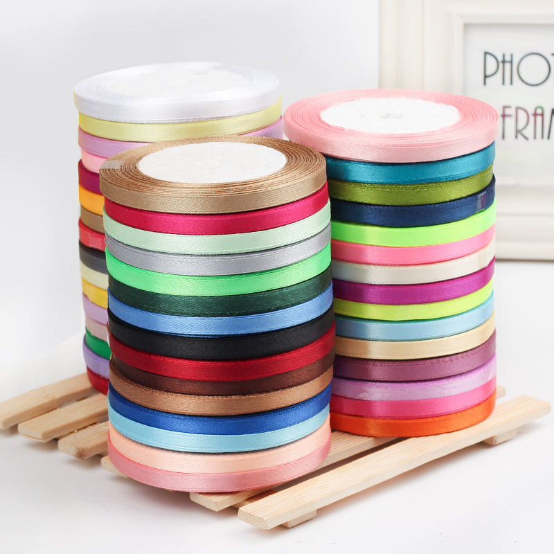 2roll/lot 25yards/roll 6mm Satin Ribbon Party Wedding Decoration Invitation Card Gift Wrapping Christmas DIY Material Supplies(China)