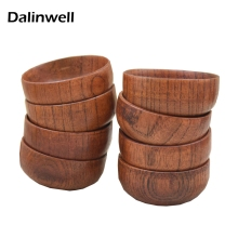 8PCS 2017 Diameter 7cm High Quality Pastoral Natural Wooden Japanese Chinese Small Kongfu Tea Cups Saucer Utensils Wood Wine Cup(China)
