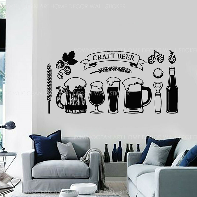 IT/'S BEER TIME Removable Beer Bottle Silhouette Wall Refrigerator Kitchen Restaurant Bar Decor Decal Vinyl Sticker