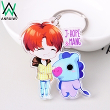 Buy New Style Cute Kpop BT21 Key Chain Bangtan Boys BTS Keychain Love Acrylic J-HOPE V SUGA Women Bag Charm Keyring Gift for $1.48 in AliExpress store
