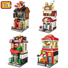 4pcs/lot LOZ city street #1625-1628 mini street view store series diamond building block colorful pizza cream hot pot shop(China)