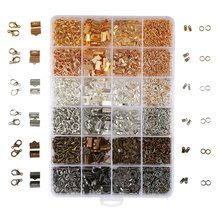 2460PCS/Box 24 Style 6 Color Jewelry Findings Kit Open Jump Rings Lobster Clasps Cord Ends Ribbon Ends for Jewelry Making(China)